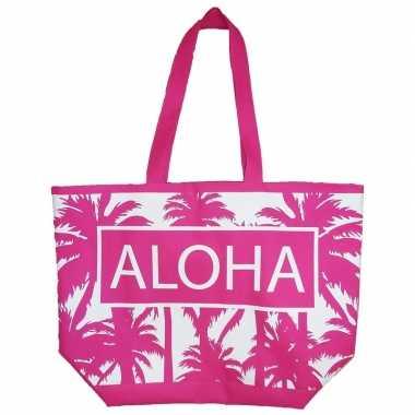 Damestas strandtas palmbomen roze/wit aloha 58 cm