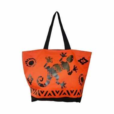 Damestas strandtas zomerse reptielen gekko oranje 58 cm