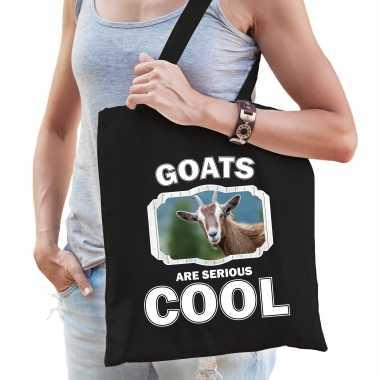 Dieren geit tasje zwart volwassenen en kinderen - goats are cool cadeau boodschappentasje
