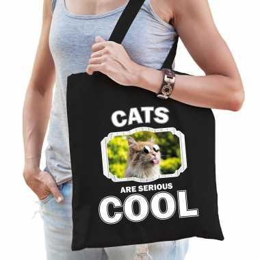 Dieren gekke poes tasje zwart volwassenen en kinderen - cats are cool cadeau boodschappentasje