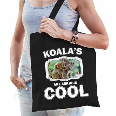 Dieren koala tasje zwart volwassenen en kinderen - koalas are cool cadeau boodschappentasje