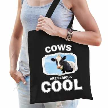 Dieren koe tasje zwart volwassenen en kinderen - cows are cool cadeau boodschappentasje