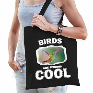 Dieren kolibrie vogel tasje zwart volwassenen en kinderen - birds are cool cadeau boodschappentasje