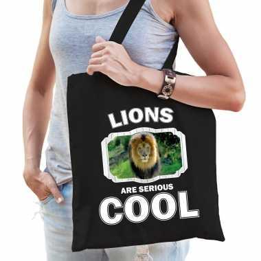 Dieren leeuw tasje zwart volwassenen en kinderen - lions are cool cadeau boodschappentasje