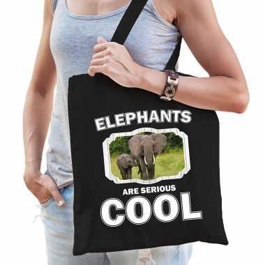 Dieren olifant tasje zwart volwassenen en kinderen - elephants are cool cadeau boodschappentasje