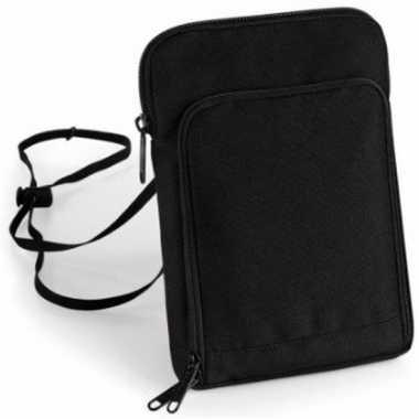 Documenten halstas / nektasje reisportemonee zwart 22 cm