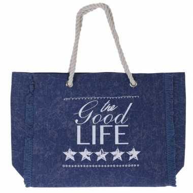 Donkerblauwe strandtas met tekst 43 cm