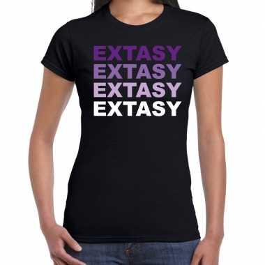 Extasy drugs fun t-shirt zwart met paarse bedrukking dames