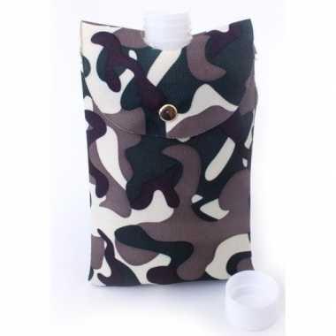 Feest heupflesje plastic in camouflage hoes tas 350 ml