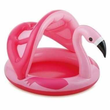 Flamingo zwembad met dakje opblaasbaar 103 cm baby/kinderen