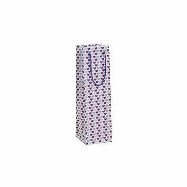 Flessen kadotasje met paarse hartjes 10 x 35 cm