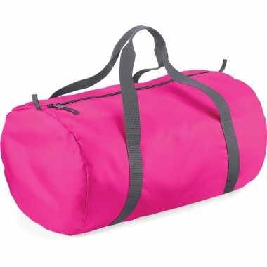 Fuchsia roze ronde polyester sporttas/weekendtas 32 liter