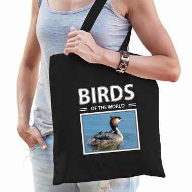 Fuut vogel tasje zwart volwassenen en kinderen birds of the world kado boodschappen tas