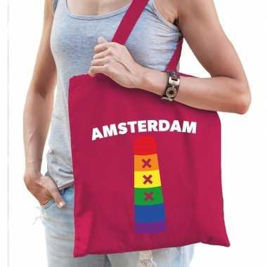 Gay pride amsterdamse paal regenboog katoenen tas roze