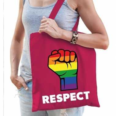 Gay pride respect katoenen tas roze