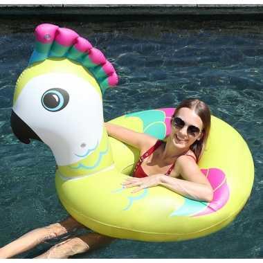 Gekleurde vogel opblaasbare zwemband/zwemring 88 x 101 x 82 cm speelgoed