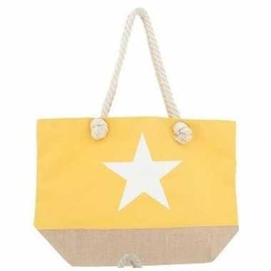Gele strandtas met witte ster 55 cm