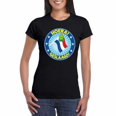 Geslaagd t-shirt met vlaggenmast met tas zwart dames