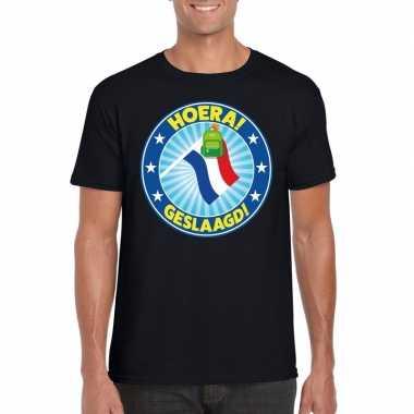 Geslaagd t-shirt met vlaggenmast met tas zwart heren