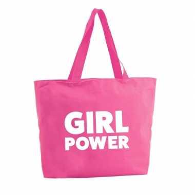Girl power shopper tas fuchsia roze 47 cm