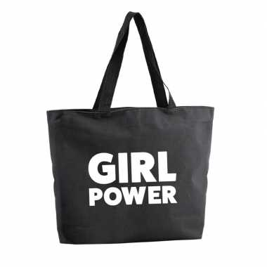 Girl power shopper tas zwart 47 cm