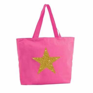 Gouden ster glitter shopper tas fuchsia roze 47 cm