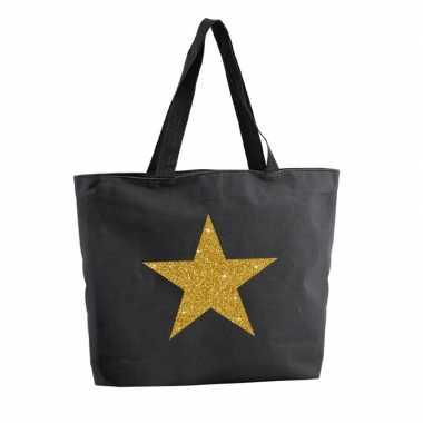 Gouden ster glitter shopper tas zwart 47 cm