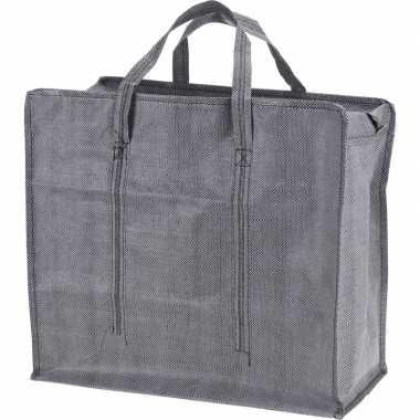 Grijze mega boodschappentas/shopper 60 cm