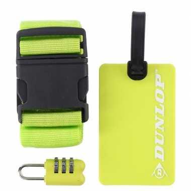 Groene koffer/bagage accessoiresset 3-delig