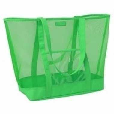 Groene transparante strandtas 38 cm