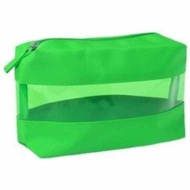 Groene transparante toilettas 12 cm