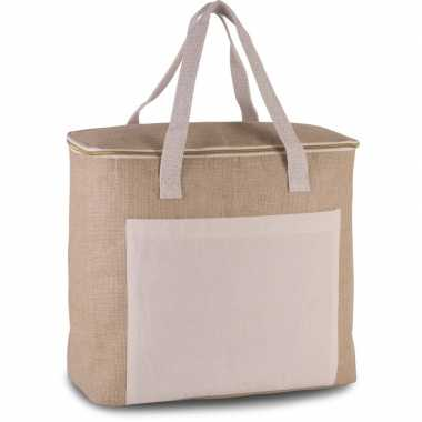 Grote koeltas jute canvas xl naturel 20 liter