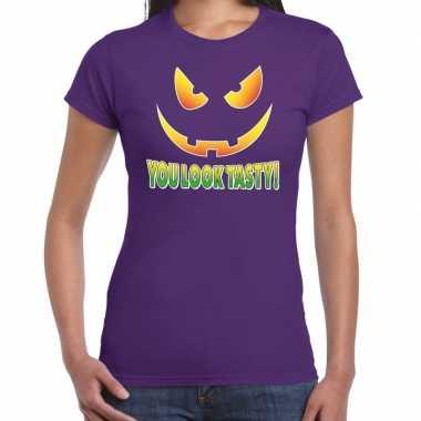 Halloween you look tasty verkleed t-shirt paars voor dames