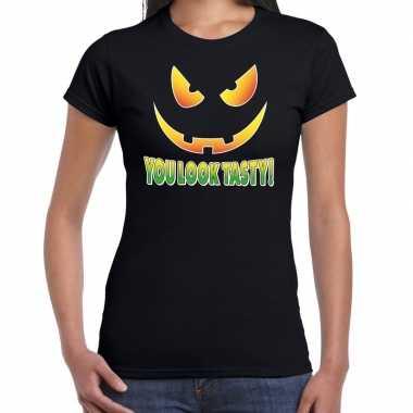 Halloween you look tasty verkleed t-shirt zwart voor dames