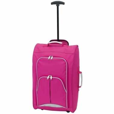Handbagage reiskoffer/trolley roze 55 cm
