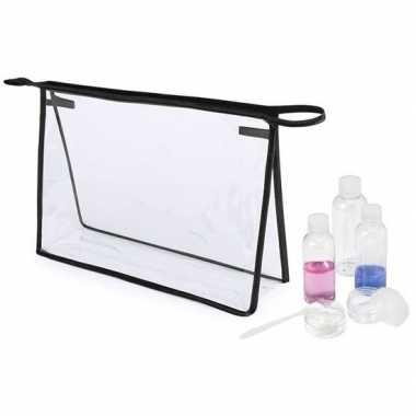 Handbagage reisset met toillettas xl transparant/zwart 29 cm