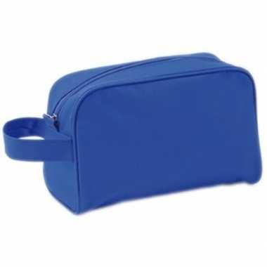 Handbagage toilettas blauw met handvat 21,5 cm voor heren/dames