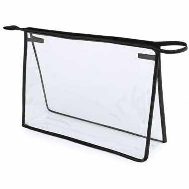 Handbagage toilettas/make-up tas zwart 29 cm voor heren/dames