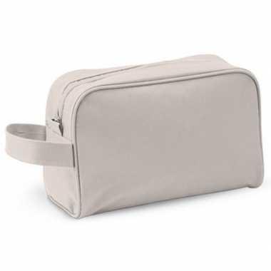 Handbagage toilettas naturel met handvat 21,5 cm voor heren/dame