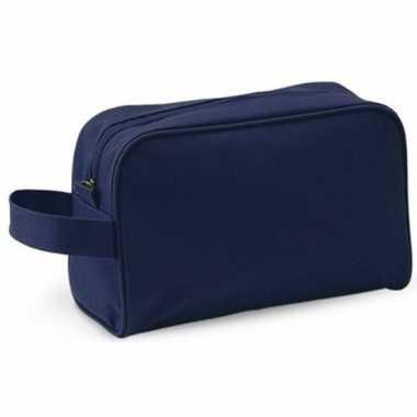 Handbagage toilettas navy met handvat 21 5 cm voor heren dames