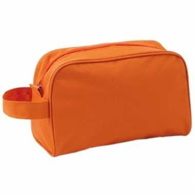 Handbagage toilettas oranje met handvat 21,5 cm voor heren/dames