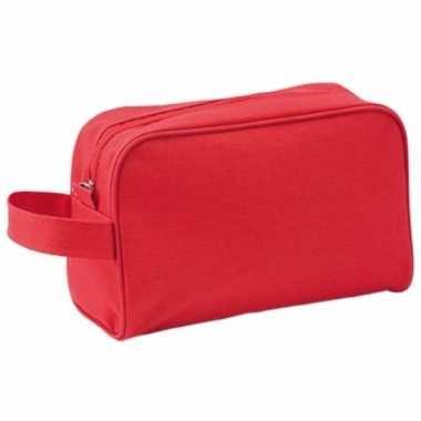 Handbagage toilettas rood met handvat 21 5 cm voor heren dames