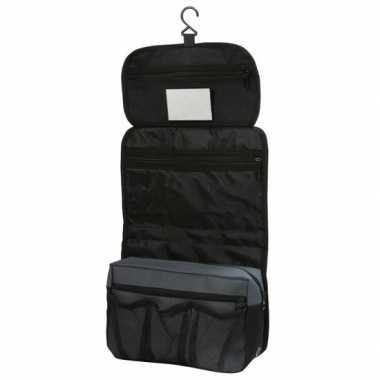 Hangende toilettas/make-up tas zwart 27 cm voor heren/dames