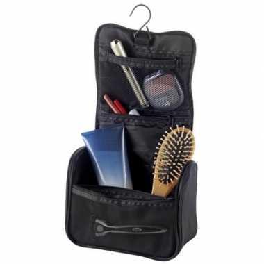 Hangende toilettas/make-up tas zwart 33 cm voor heren/dames