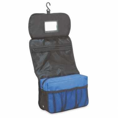 Hangende toilettas/make-up tas zwart/blauw 27 cm heren/dames