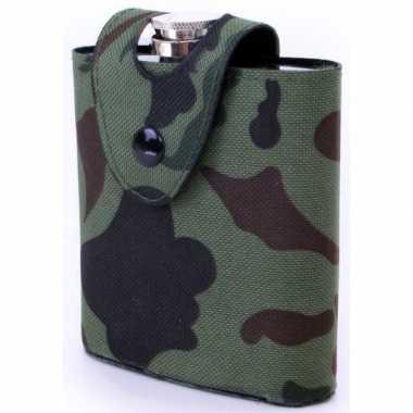 Heupflesje rvs in camouflage hoes tas 177 ml