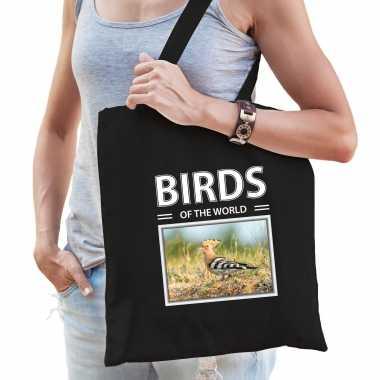 Hop vogel tasje zwart volwassenen en kinderen birds of the world kado boodschappen tas