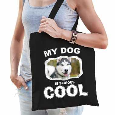 Husky honden tasje zwart volwassenen en kinderen - my dog serious is cool kado boodschappentasje