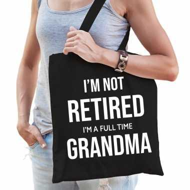 Im not retired i am a full time grandma / pensioen cadeau tasje zwart dames