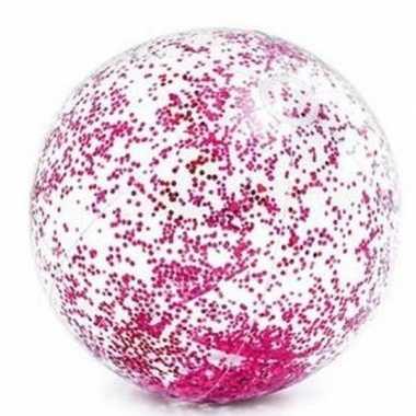 Intex opblaasbare roze glitter strandbal 71 cm speelgoed